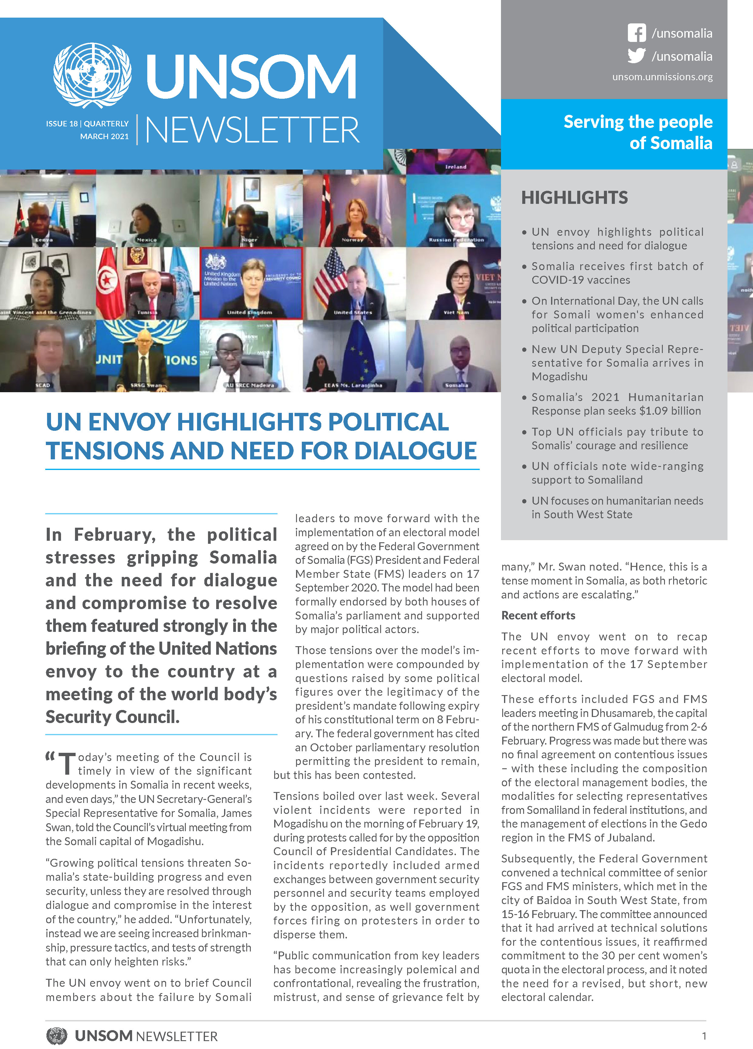 UNSOM Quarterly Newsletter, Issue 18, March 2021