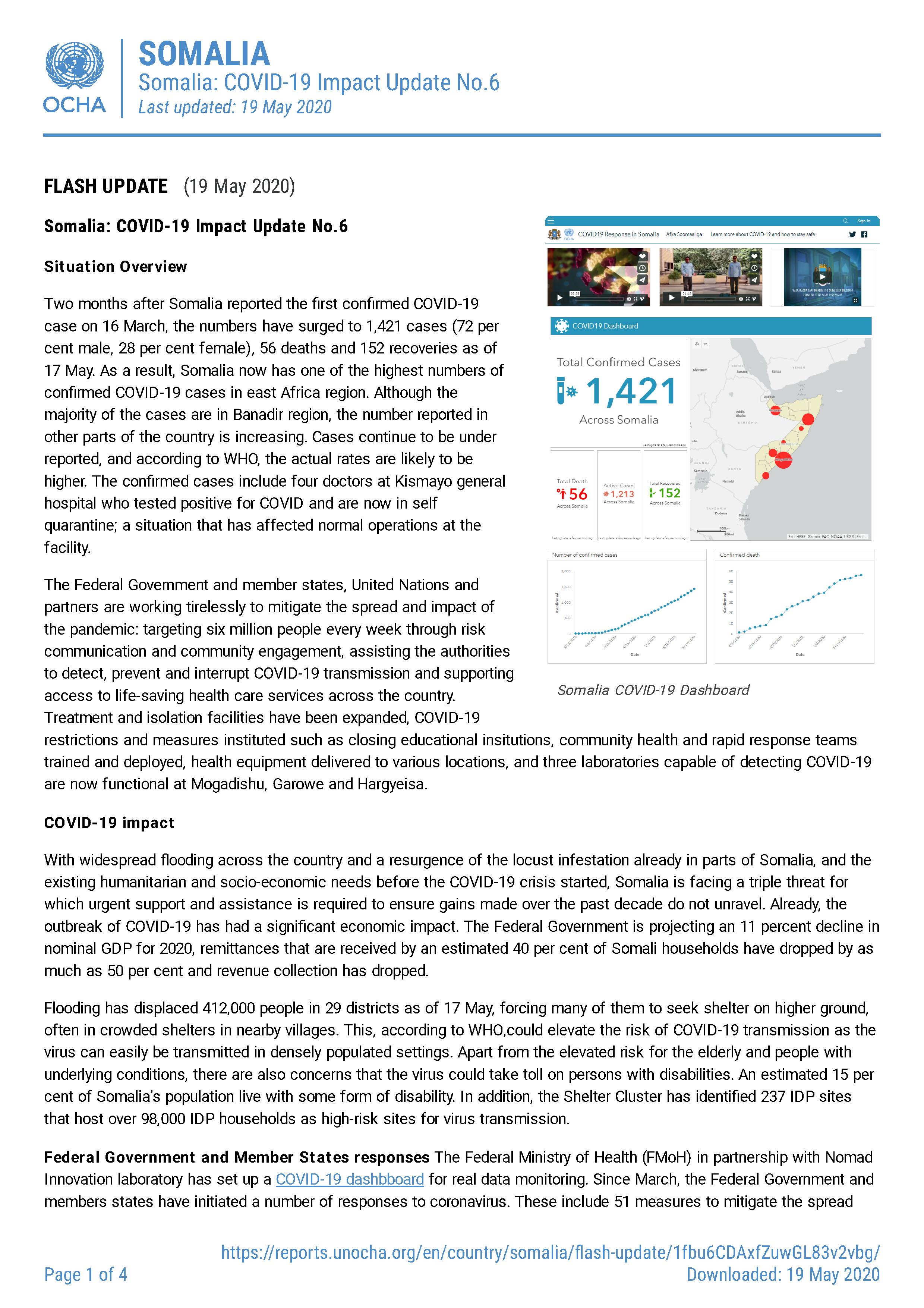 Somalia: COVID-19 Impact Update No. 6 (As of 19 May 2020)
