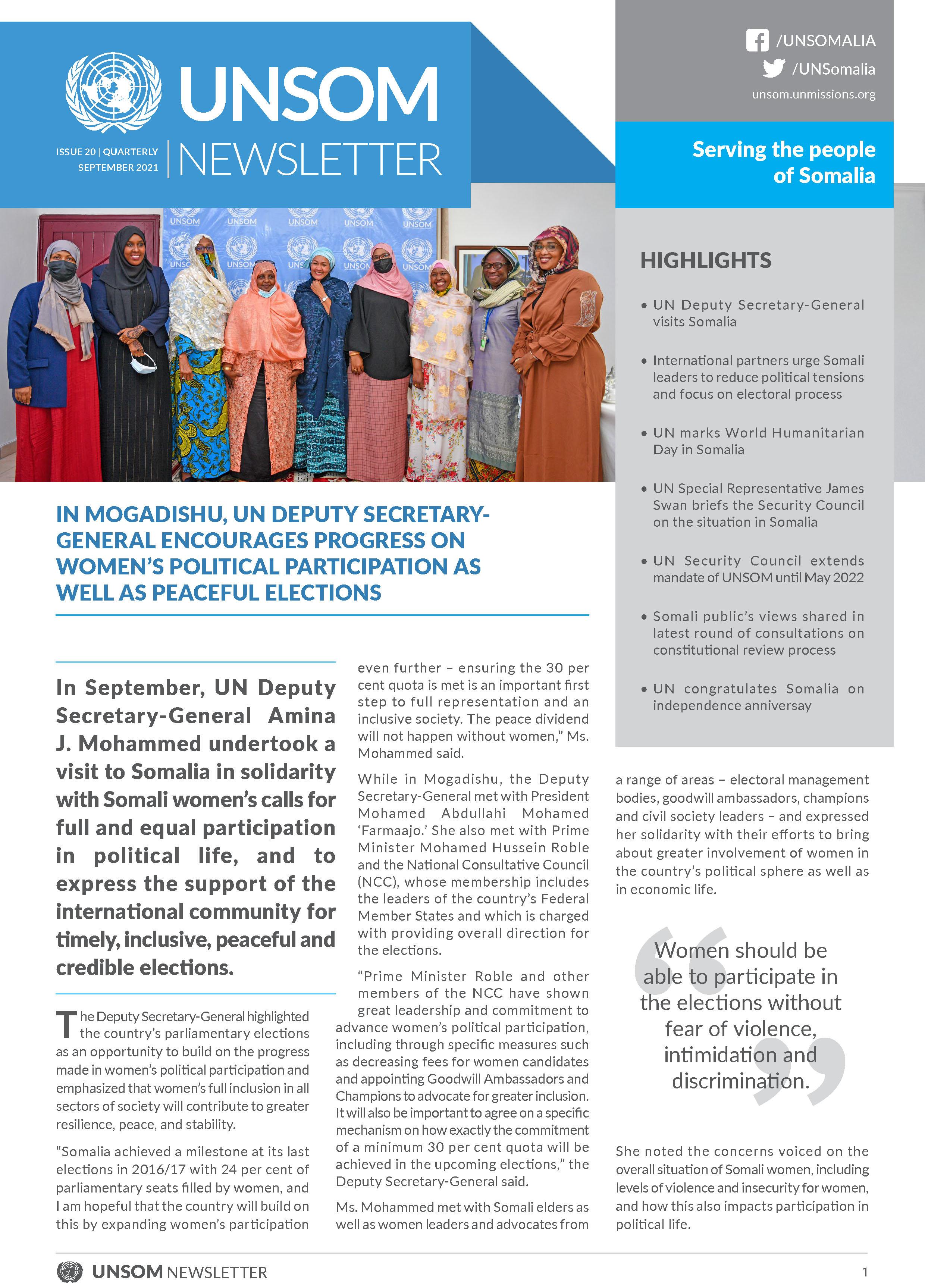 UNSOM Quarterly Newsletter, Issue 20, September, 2021